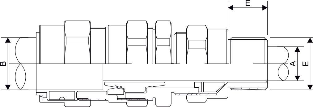 E1FUNV Double Compression Cable Gland Diagram