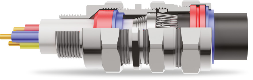 E1FX Double Compression Cable Gland 3D Diagram