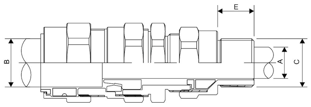 E1FX Double Compression Cable Gland Diagram