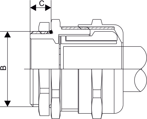 EMC Metric Threaded Single Compression Cable Gland Diagram